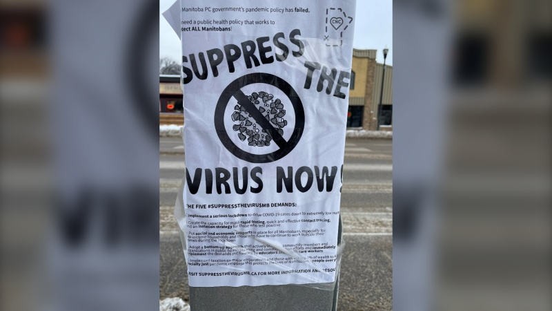 "A photo of a ""suppress the virus"" poster posted on a Winnipeg street lamp on January 17, 2020."