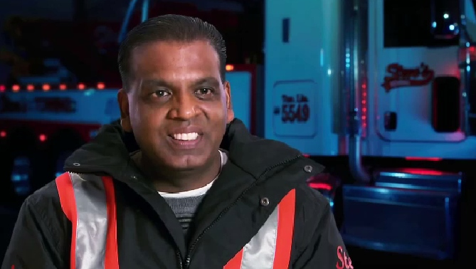 "Sutheshkumar Sithambarpillay, who goes by Steve Pillai, is seen in this screengrab from ""Heavy Rescue 401."" (Source: Youtube / Discovery Canada and Thunderbird Entertainment)"