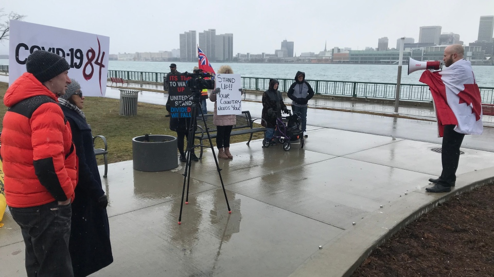 Protesters in Windsor, Ont. on Sunday, Jan. 17, 2020. (Angelo Aversa/CTV Windsor)