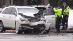 Two people were taken to a hospital from a crash on Westmount Road. (CTV Kitchener) (Jan. 17, 2020)