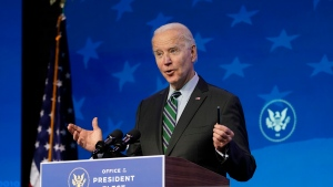 U.S. President-elect Joe Biden speaks during an event at The Queen theater, Saturday, Jan. 16, 2021, in Wilmington, Del. (AP Photo/Matt Slocum)