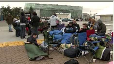 Fans line up outside of Vancouver's BC Place in advance of a sold-out U2 show on Oct. 28, 2009.