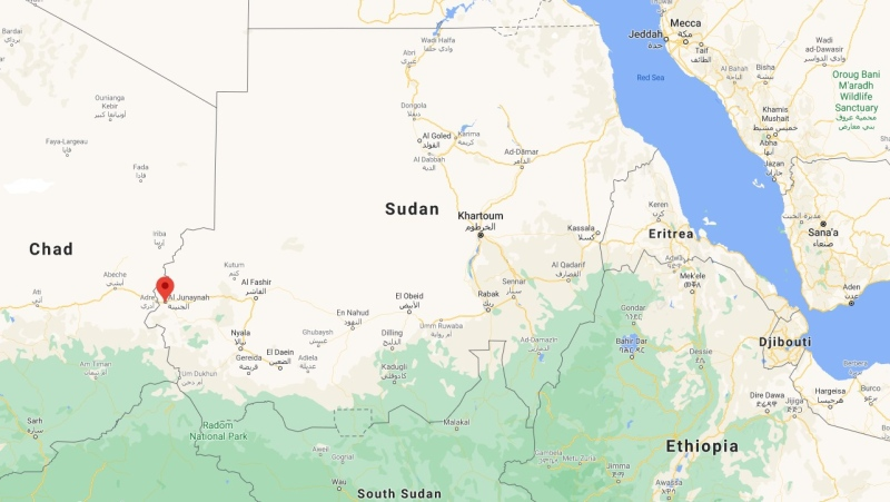 Sudan, with Genena marked, is shown in this Google Maps image. (Google Maps)