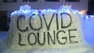 A large snow fort in Waterloo has been named the COVID lounge by it's builders (CTV Kitchener)