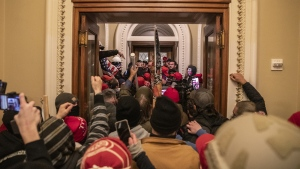 Seen here, demonstrators in the U.S. Capitol after breaching barricades in Washington, DC, on January 6. (Victor J. Blue/Bloomberg/Getty Images/CNN)