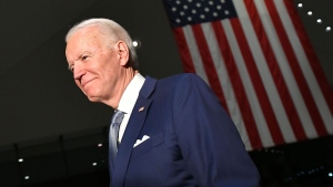 Joe Biden walks out after speaking at the National Constitution Center in Philadelphia, Pennsylvania on March 10, 2020. (Photo by MANDEL NGAN/AFP via Getty Images)