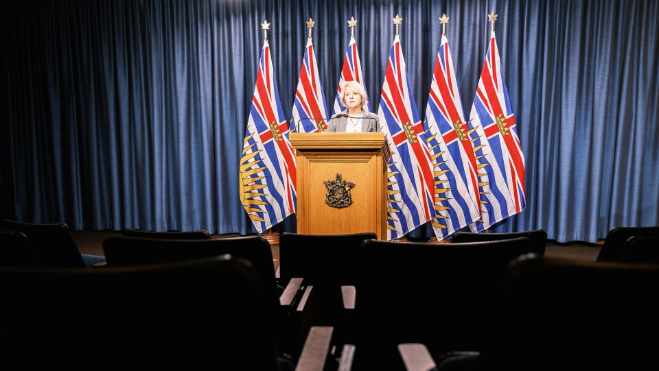 Health Minister Adrian Dix and Chief Provincial Health Officer Dr. Bonnie Henry provide an update on COVID-19 on Jan. 14, 2021. (Province of BC/Flickr)