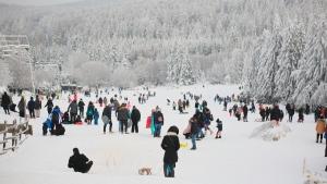 Toboggan slopes at Torfhaus, Germany, on Jan. 17, 2021. (Matthias Bein / dpa via AP)