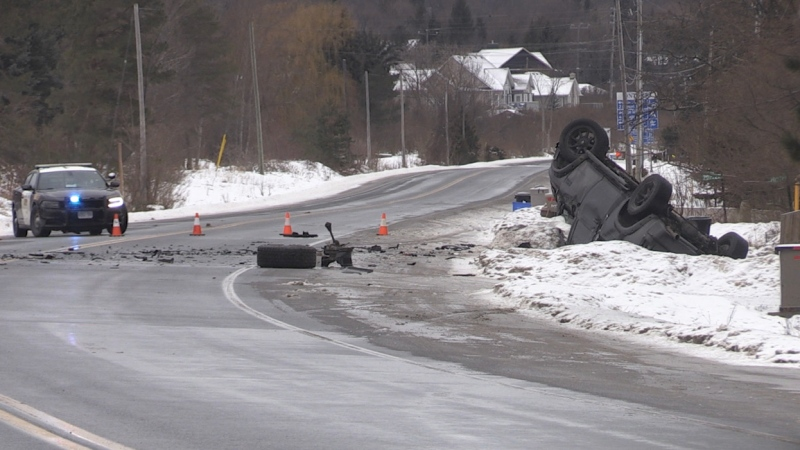 Highway 26 near Grey County Road 19, on Mon., Jan. 18, 2021. (Roger Klein/CTV News)