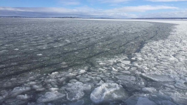 The ice on Georgian Bay in Midland, Ont., on Mon., Jan. 18, 2021 (Supplied)