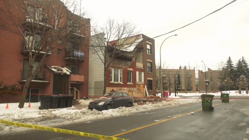 Firefighters evacuated several neighbouring homes after a Verdun building's roof collapsed on Mon., Jan. 18, 2021.