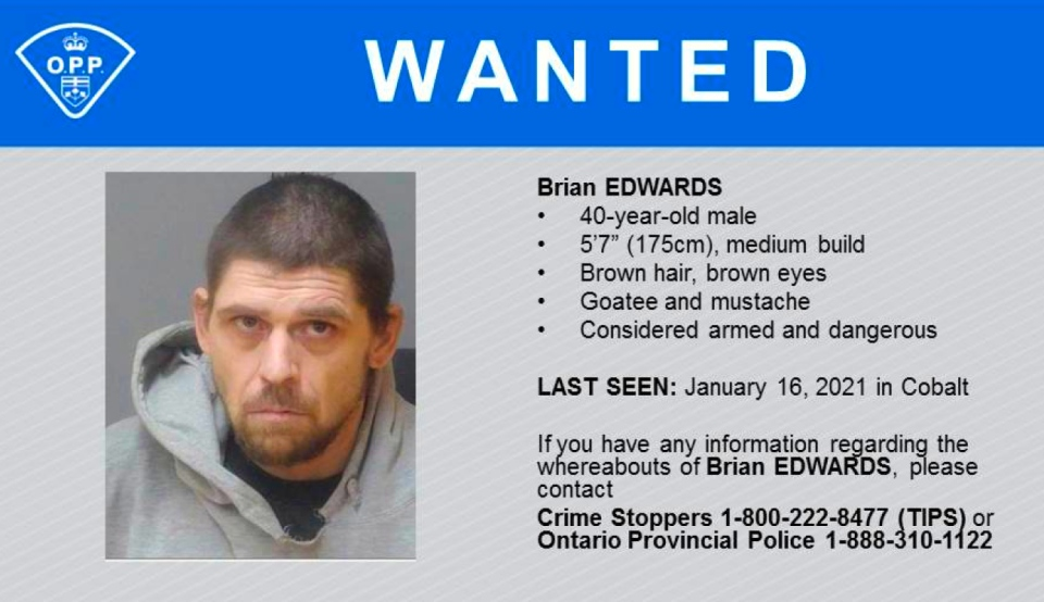 The Ontario Provincial Police in Cobalt are asking for the public's help to locate Brian Edwards, who suspected to be involved in two violent home invasions Jan. 15 and Jan. 16. (Supplied)