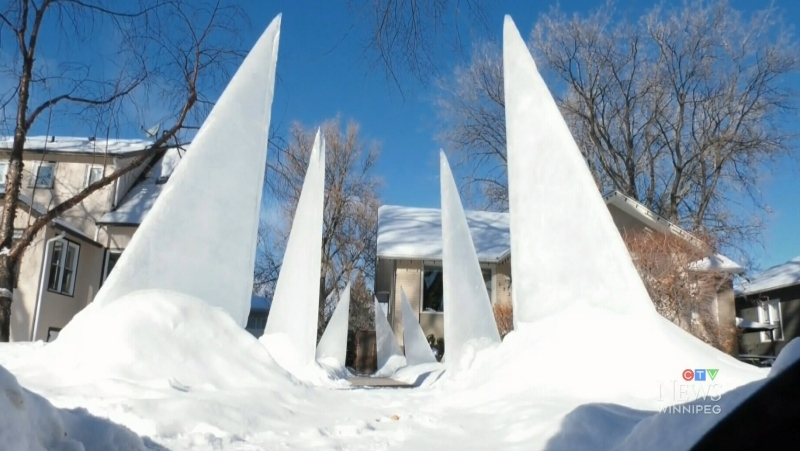 Snow sculptures popping up in Winnipeg