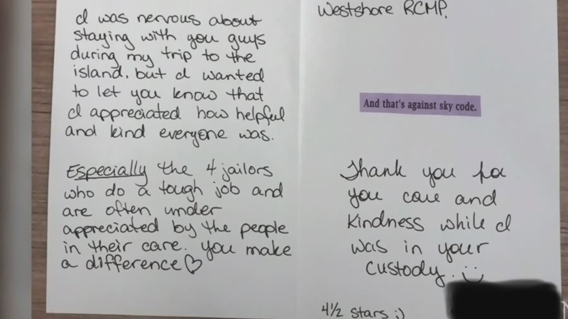 Woman writes thank-you note for island jail