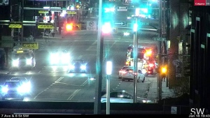 A pedestrian was struck by a vehicle Monday night at the corner of 8th Street and 10 Avenue S.W. in downtown Calgary