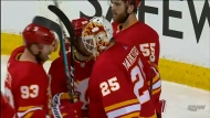 Flames goaltender Jacob Markstrom goes for his second straight win against his former team, the Vancouver Canucks, Monday night. Markstrom recorded a shutout Saturday night in a 3-0 Flames victory