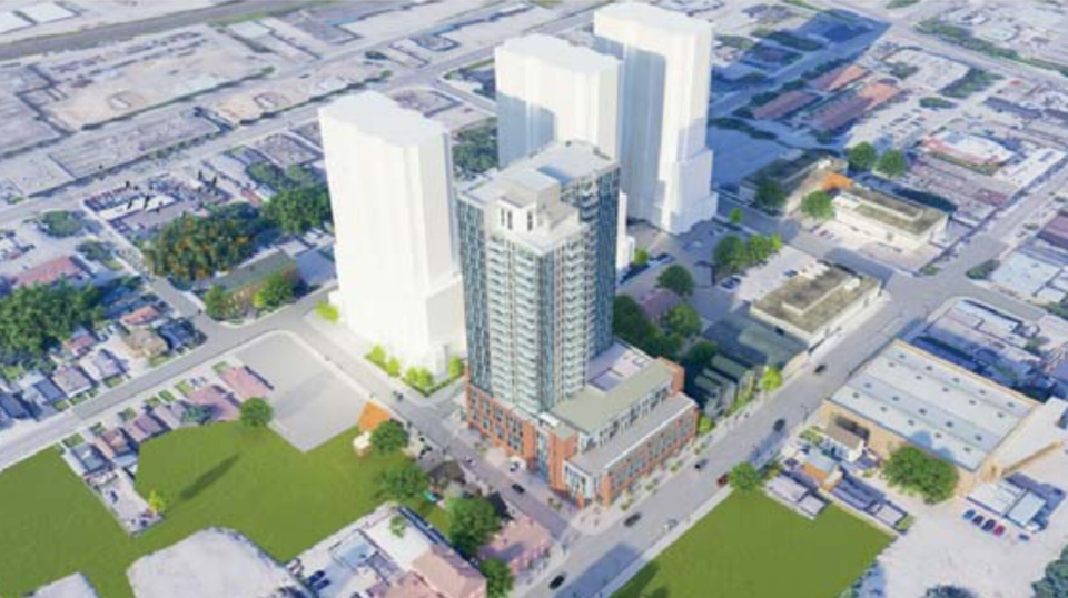 Aerial concept for the Old East Village high rise project.