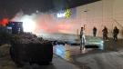 Fire officials say this fire behind a Cambridge Walmart is considered suspicious (CTV Kitchener/Terry Kelly).