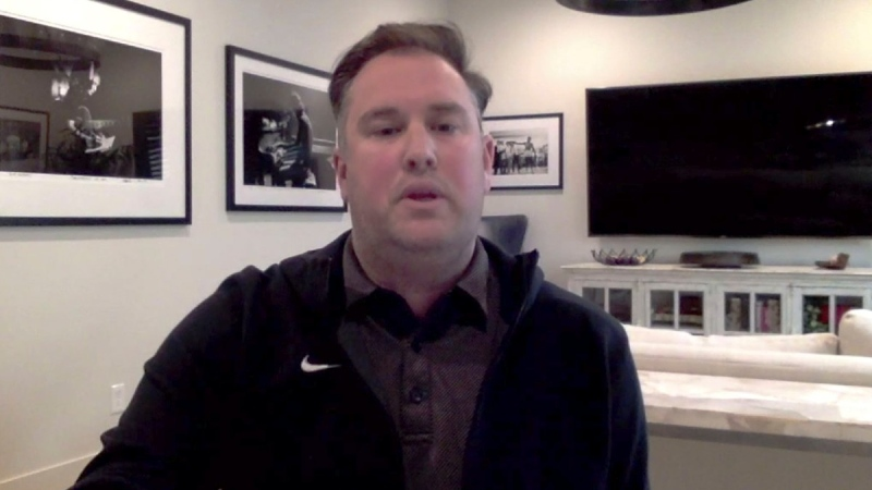 This screen grab from a Zoom call shows New York Mets general manager Jared Porter, on Dec. 14, 2020. (Zoom via AP, File)