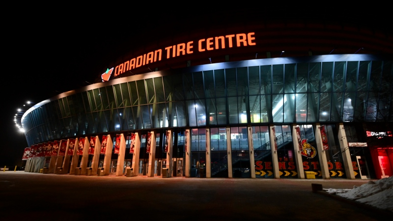 Canadian Tire Centre, the home of the Ottawa Senators, is pictured prior to the home opener where the Sens will take on the Toronto Maple Leafs in NHL action in Ottawa, Friday, Jan. 15, 2021. (Sean Kilpatrick/THE CANADIAN PRESS)