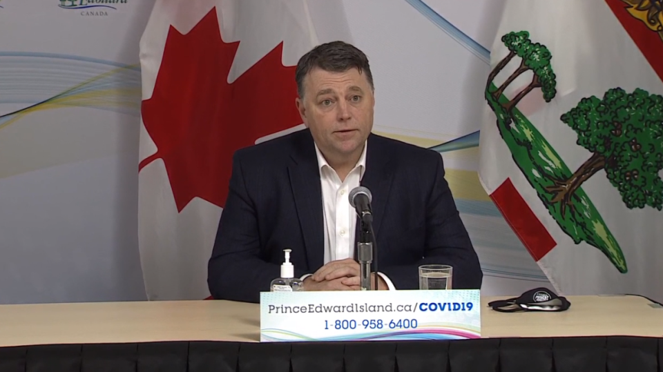 Prince Edward Island Premier Dennis King gives an update on COVID-19 in the province on January 19, 2021.