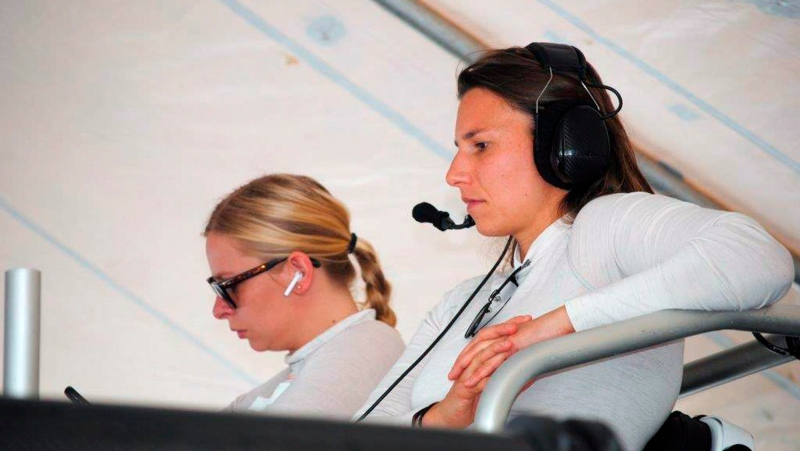 Simona de Silvestro, right, of Switzerland and Christina Nielsen of Denmark watch a test session at Daytona International Speedway in Daytona Beach, Fla., Friday, Jan. 4, 2019. (AP Photo/Mark Long)