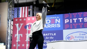 FILE - Lady Gaga performs during a drive-in rally for Democratic presidential candidate former Vice President Joe Biden at Heinz Field, Monday, Nov. 2, 2020, in Pittsburgh. (AP Photo/Andrew Harnik)