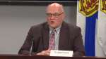 Nova Scotia chief medical officer of health Dr. Robert Strang provides an update on COVID-19 during a news conference in Halifax on Jan. 19, 2021.