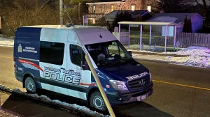 Police respond to a disturbance in Cambridge on Jan. 18, 2021 (Terry Kelly / CTV News Kitchener)