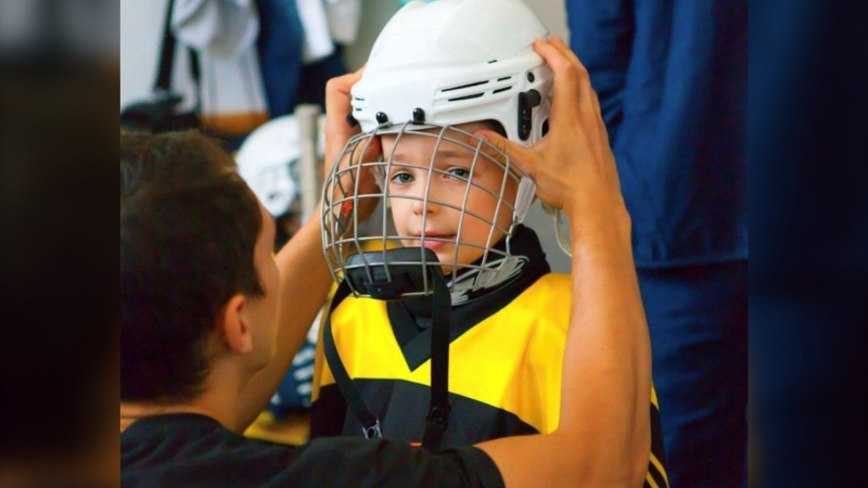Scotiabank and the Calgary Flames Foundation are teaming up to donate 500 helmets to youth in southern Alberta. (Calgary Flames Sports Bank)