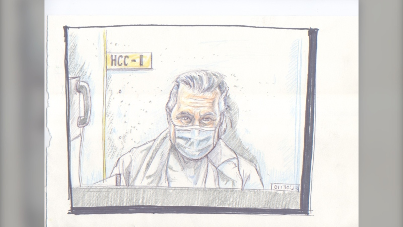 A courtroom sketch shows Canadian fashion mogul Peter Nygard during a virtual appearance at the Manitoba Court of Queen's Bench on Jan. 19, 2021. (Credit : La Liberté Manitoba/Tadens Mpwene)