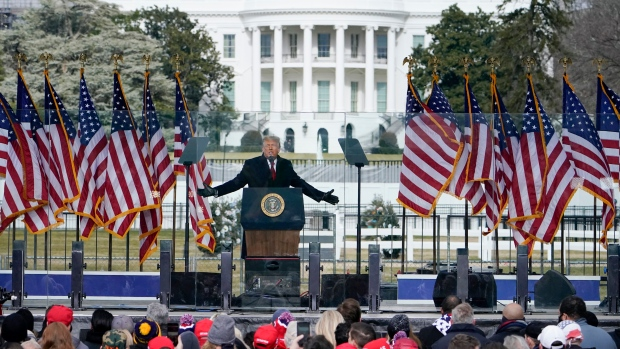 U.S. President Donald Trump speaks during a rally protesting the electoral college certification of Joe Biden as President, Wednesday, Jan. 6, 2021, in Washington. (AP Photo/Evan Vucci)