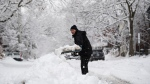 Benoit Leduc shovels his driveway during a major snowstorm in Ottawa on Saturday, Jan. 16, 2021. A snowfall warning is in effect with Environment Canada predicting between 15 to 30 cm of snow by tonight. (Justin Tang/THE CANADIAN PRESS)