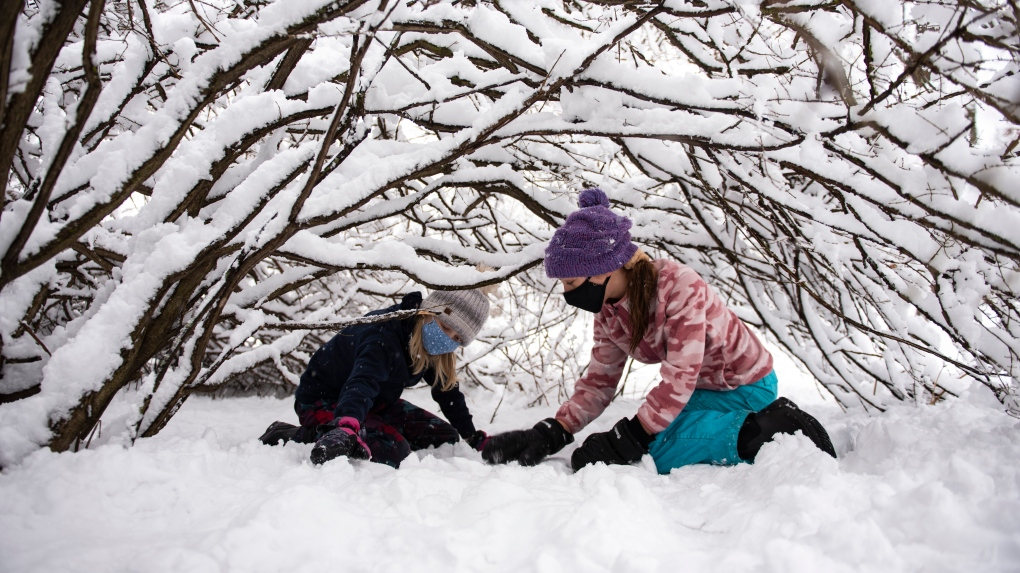 Playing in the snow in Ottawa