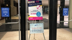 A proof-of-concept clinic at the Metro Toronto Convention Centre was closed on Jan. 19, 2020 due to a vaccine shortage. (Beth Macdonell/CTV News Toronto)