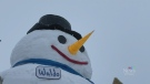 Giant snowman towers over home