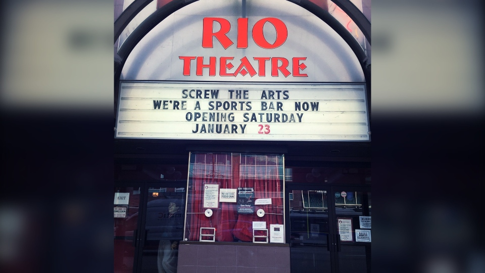 Vancouver's iconic Rio Theatre has announced it's reopening this weekend as a sports bar. Source: Rio Theatre/Twitter