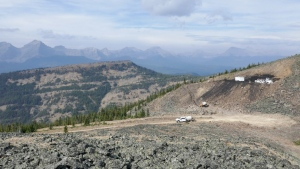 Coal exploration is shown on Vicary Ridge just south of the Oldman River, taken in fall 2020. (Courtesy Alistair Des Moulins/Alberta Hiking Association)