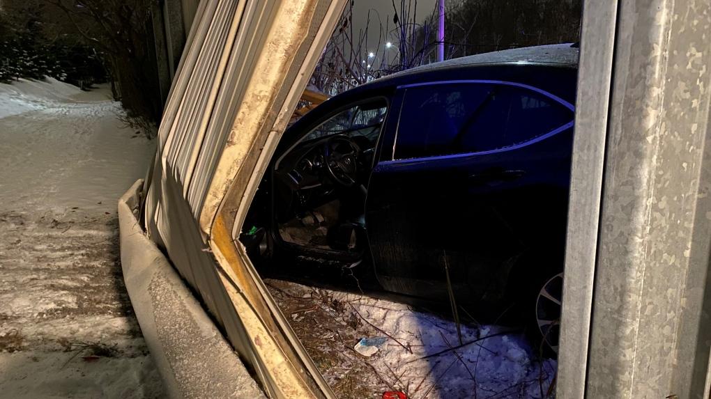A vehicle crashed into a fence