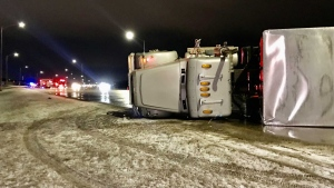 Strong winds are to blame for three semi-tractor trailers rolling over on Calgary Trail. Tuesday Jan. 19, 2021 (Sean Amato/CTV News Edmonton)