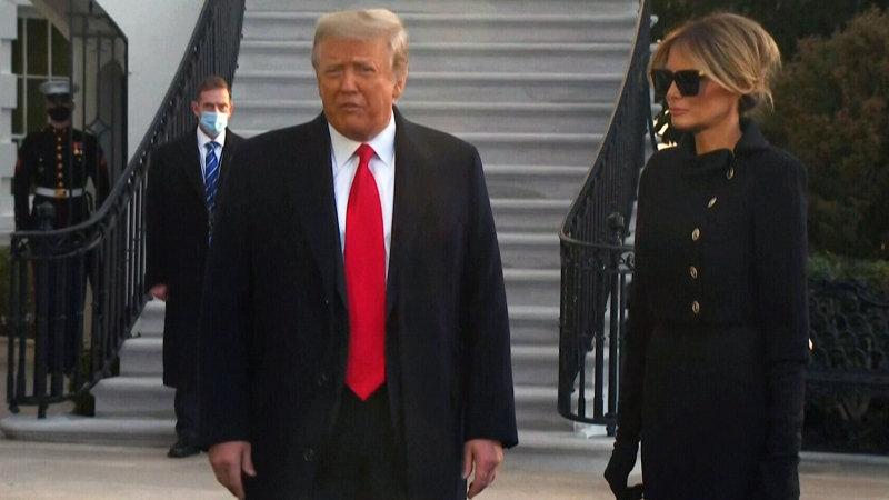 Donald Trump and Melania leave the White House