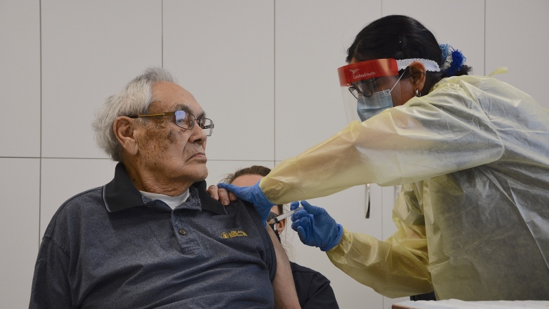 Order of Nunavik recepient Johnny Watt became the first person in the region to receive the Moderna vaccine. SOURCE: Nunavik Regional Board of Health and Social Services/Facebook