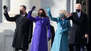 Doug Emhoff, U.S. Vice President-elect Kamala Harris, Jill Biden and U.S. President-elect Joe Biden wave as they arrive on the East Front of the U.S. Capitol for the inauguration on January 20, 2021 in Washington, D.C. (Photo by Joe Raedle/Getty Images)