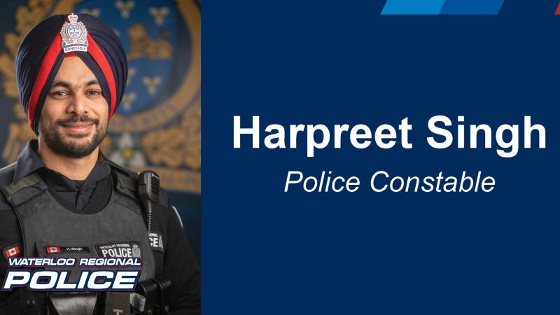 Const. Harpreet Singh seen here in this photo shared by the Waterloo Regional Police Service.