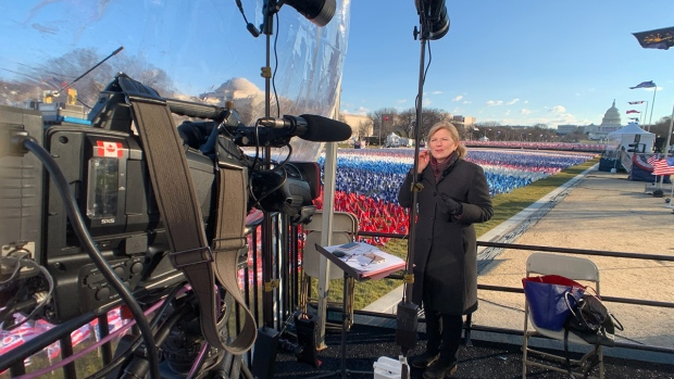 CTV News' Washington bureau chief Joy Malbon is seen in this photo covering the presidential inauguration of Joe Biden, Wednesday, Jan. 20, 2021.