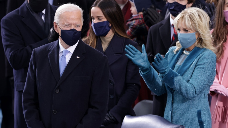 U.S. President-elect Joe Biden and Dr. Jill Biden arrive to Biden's inauguration on the West Front of the U.S. Capitol on January 20, 2021 in Washington, D.C.  (Photo by Alex Wong/Getty Images)