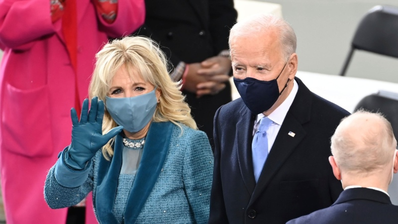 Joe Biden and his wife Jill Biden at the U.S. Capitol in Washington, on Jan. 20, 2021. (Saul Loeb / Pool Photo via AP)