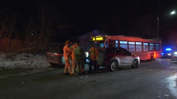 A collision involving two vehicles and a City of Barrie Transit bus took place on Tues., Jan. 19, 2021 (CTV News Barrie)