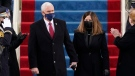 Vice President Mike Pence and his wife Karen, arrive for the 59th Presidential Inauguration at the U.S. Capitol for President-elect Joe Biden in Washington, Wednesday, Jan. 20, 2021. (AP Photo/Patrick Semansky, Pool)