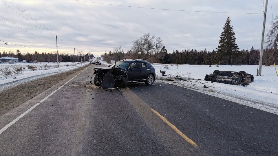 A multi-vehicle collision on Highway 10 in Mono Township on Wed., Jan. 20, 2021, sends four to hospital. (OPP)
